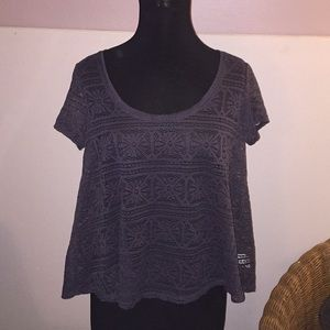 American Eagle Gray Cut Out Blouse Medium New